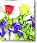 Flower Frame Border Metal Print