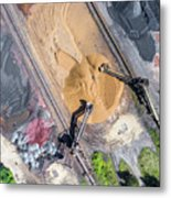 Mining Excavator On The Bottom Surface Mine.  Metal Print