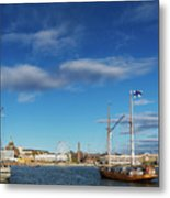 Old Sailing Boats In Helsinki City Harbor Port Finland Metal Print