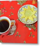 On The Eve Of Christmas. Tea Drinking With Cheese. Metal Print