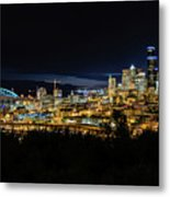 Seattle Skyline At Night Metal Print