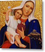 Virgin And Child Painting Religious Art Metal Print
