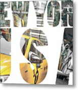 Yellow Cab Speeds Through Times Square In New York, Ny, Usa. Metal Print