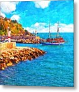 A Digitally Constructed Painting Of Kaleici Harbour In Antalya Turkey Metal Print