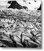 ash covered Skaftafell glacier and end moraine Vatnajokull national park in Iceland Metal Print