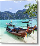 Long-tail Boats, The Andaman Sea And Hills In Ko Phi Phi Don, Th Metal Print
