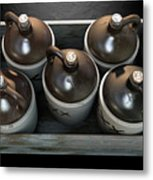 Moonshine In Wooden Crate Metal Print