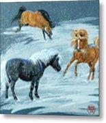 #9 - Ponies In Snow Metal Print