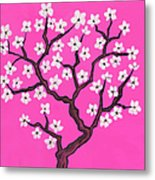 Spring Tree In Blossom, Painting Metal Print