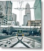 Streetcar Waiting For Passengers In Snowstrom In Uptown Charlott Metal Print