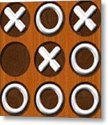 Tic Tac Toe Wooden Board Generated Seamless Texture Metal Print
