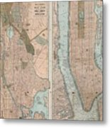 Vintage Map Of New York City  Metal Print