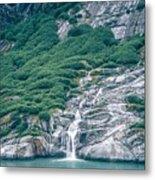 Waterfall In Tracy Arm Fjord, Alaska Metal Print