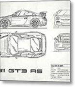 911 Gt3 Rs Blueprint - White Metal Print