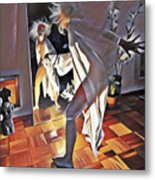 9926s-dm Watercolor Woman In White Confronts Herself In Mirror Metal Print