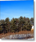 A Barn In The Snow In Maine Metal Print