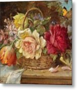 A Basket Of Flowers And A Butterfly Hans Zatzka Metal Print