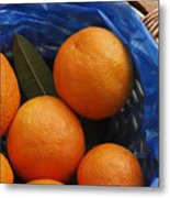 A Basket Of Oranges Metal Print