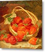 A Basket Of Strawberries On A Stone Ledge Metal Print