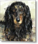 A Beautiful Artistic Painting Of A Dachshund  Metal Print