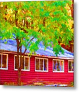 A Beautiful Country Building In The Fall 1 Metal Print
