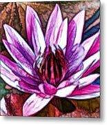 A Beautiful Purple Water Lilies Flower Metal Print