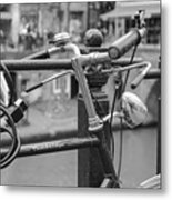A Bicycle Parked At Fence, Netherlands Metal Print