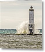 A Big Wave Crashes Into The Frankfort Light Metal Print