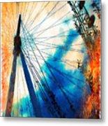 A Big Wheel Roller Coaster Ride Under A Sunset Metal Print