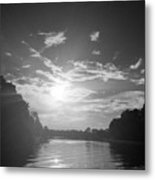 A Black And White Sunset Metal Print