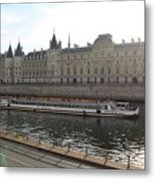 A Boat On The River Seine Metal Print