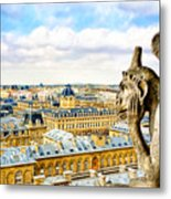A Bored Gargoyle Sees Paris Metal Print by Mark E Tisdale