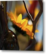 A Bottle And Sunflowers Metal Print
