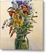 A Bouquet Of Wild Flowers In A Glass Jar. Metal Print