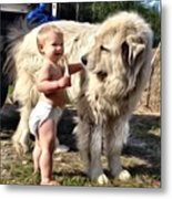 A Boy And His Puppy Metal Print