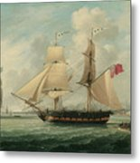A Brig Entering Liverpool Metal Print by John Jenkinson