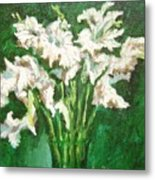A Bunch Of White Gladioli Metal Print