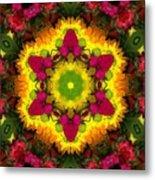 A Burst Of Flowers Kaleidoscope Metal Print