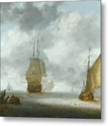 A Calm Sea With A Man Of War And A Fishing Boat Metal Print