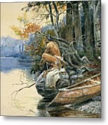 A Camp Site By The Lake Metal Print
