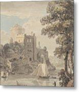 A Castle On A River Metal Print