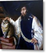 A Cat For Rembrandt_ Aristotle Caresses Calliope Metal Print