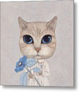 A Cat With A Blue Flower Metal Print