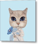 A Cat With A Blue Flower On White Metal Print