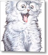 A Cat With Glasses Metal Print