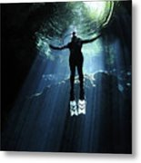 A Cavern Diver Ascends In The Cenote Metal Print by Karen Doody