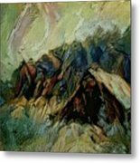 A Chance In The World Movie Dark Barn Crowded Into A Gully Between A Large Rocky Hill And A Grove Of Metal Print