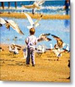 A Child At The Beach Isle Of Palms Sc Metal Print