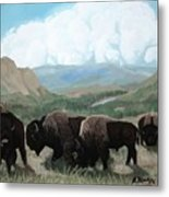 A Child Leads The Herd Metal Print