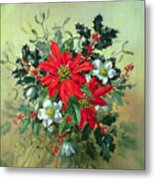 A Christmas Arrangement With Holly Mistletoe And Other Winter Flowers Metal Print